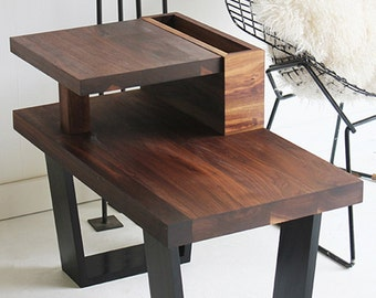 Walnut End Table, Wood Table, Walnut Furniture, Modern End Table, Walnut Side  Table, Side Table