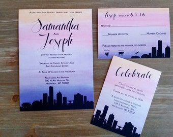 Milwaukee Skyline Wedding Invitations
