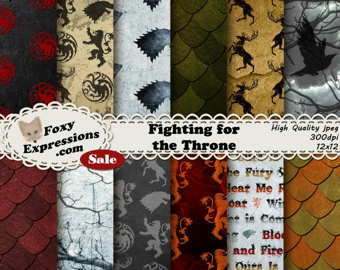 Fighting for the Throne digital paper inspired by Game of Thrones. Designs include Lannister, Stark, Taragaryen, Baratheon, dragons & more