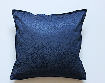 Navy blue damask pillow 16x16