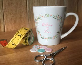 Sewing theme latte mug
