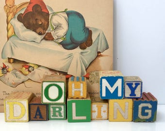 Vintage Wooden Alphabet Blocks Oh My Darling Sign Baby Nursery Decor Newborn Vintage Playroom Decor Child's Bedroom Shelf Decorations