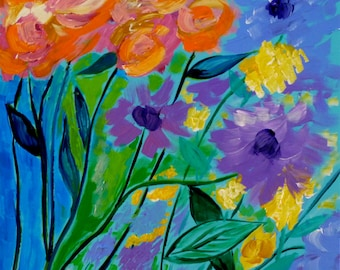 Blossoming In Style 20x20 Colorful Painting Square Flower Floral