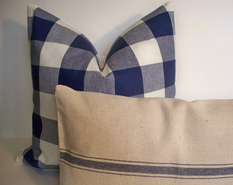 Navy Check Pillow, Navy Gingham Pillow Buffalo Check Indigo Dark Blue Check Pillow Indigo Check Pillow 0