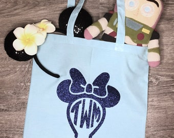 Disney-inspired Monogrammed Mouse Ears Tote Bag