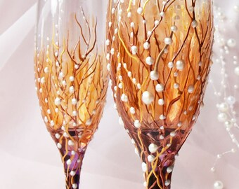 Autumn Wedding Flutes set, Fall Wedding Glasses, Wedding Champagne Flutes, Bride And Groom, Personalized Gift, Wedding gift, set of 2