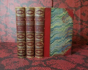 The Poems of Elizabeth Barrett Browning - 3 Volumes - Decorative Victorian Leather Books from 1873 - 1st Ed
