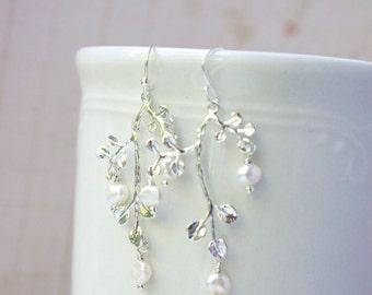Earrings, delicate silver branch and pearl snowdrop dangle earrings No E352