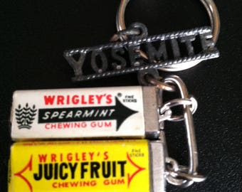 key chain - tiny packs of wrigley's gum and a yosemite tag - vintage paper wrappers on gum charms - juicy fruit & spearmint - made in taiwan