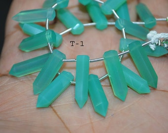 Brand New Chrysoprase Chalcedony Large Pointed Pencil ,6 inch Strand ,5x20 mm , 14 pc