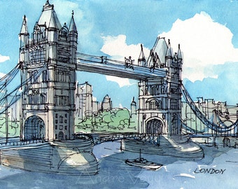 London Tower Bridge 2nd - art print from an original watercolor painting