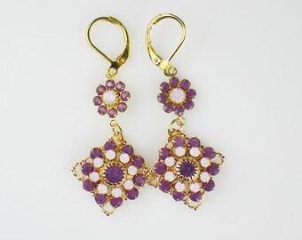 Purple & Pink Opal Rhinestone Earrings Swarovski Cyclamen Opal Rosewater Opal Drop Earrings