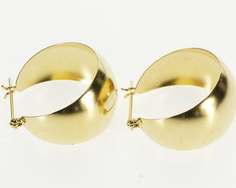 14K Graduated Rounded Curved Wide Hoop Earrings Yellow Gold
