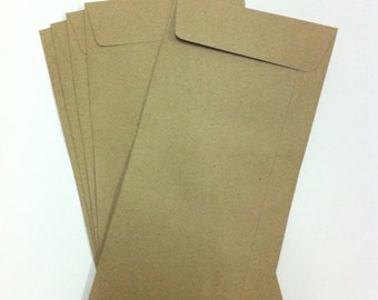 Kraft Envelopes - Long Envelopes - set of 20 - 4.5 x 9.25 in -open end - recycled paper/Eco friendly brown paper