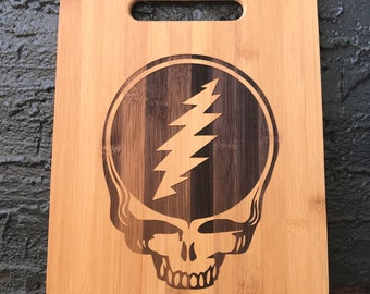 Grateful Dead band music rock cutting board home chef cook food prep meal wood fans