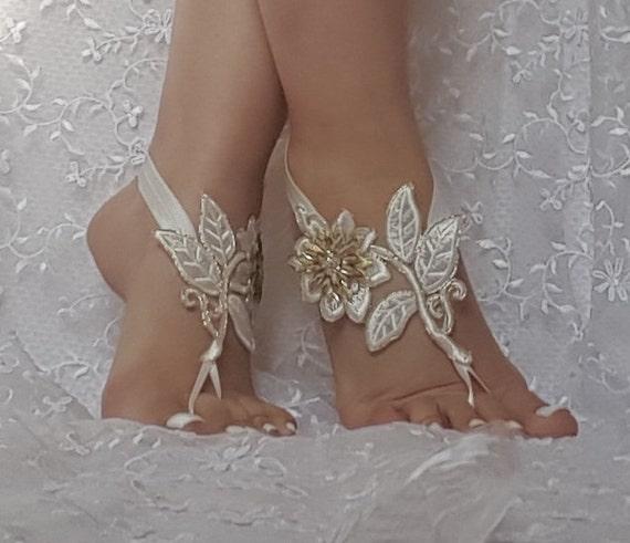 bridal anklet, ivory gold flower lace anklet, Beach wedding barefoot sandals, bangle, wedding anklet, anklet, flower foot sandal