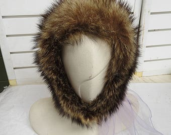 Vintage Raccoon Fur  Hat  536