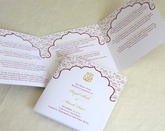 Ganesh Hindu Wedding Programs - Indian Trifold - Folded Ceremony Program - Custom Colors