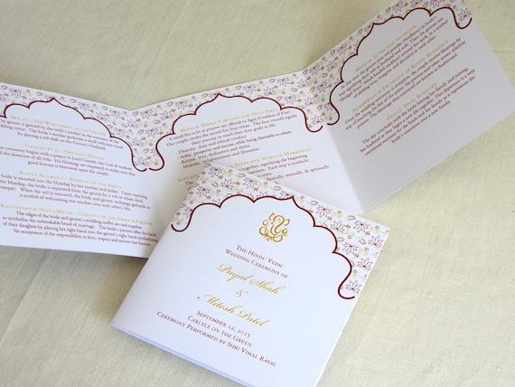 ganesh hindu wedding programs indian trifold folded