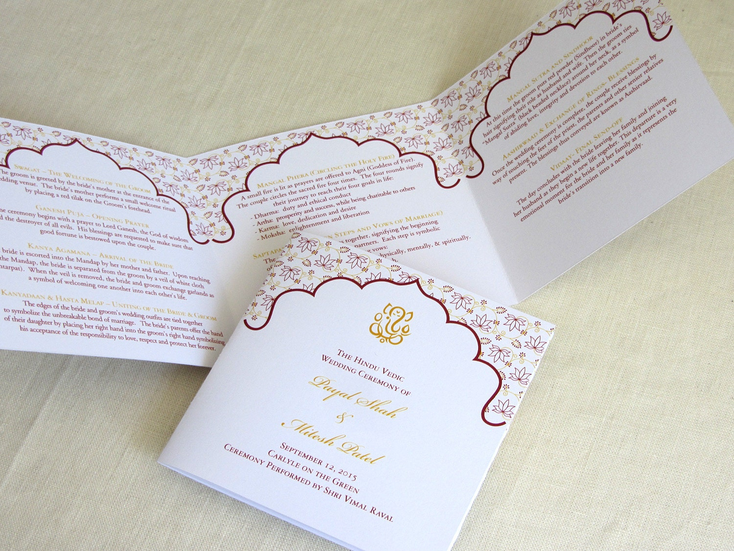 Ganesh Hindu Wedding Programs Indian Trifold Folded