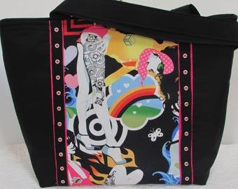 Inked and Tattooed Pin Up Girl Shoulder Bag Biker Chicks Large Tote Bag Alternative Fashion Bag Ready To Ship