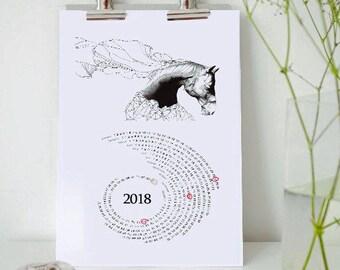 Free Printable Calendar 2018, Black and White Calendar, Horse Contemporary Art Print, Desk Calendar