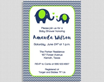 Navy & Lime Elephant Baby Shower Invitation, Navy and Green Shower Invite, Chevron, DIY PRINTABLE