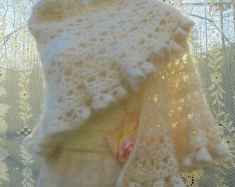 Ivory wool shawl shrug wrap poncho boho vintage wedding rustic shabby  bohemian   by vintage opulence on Etsy