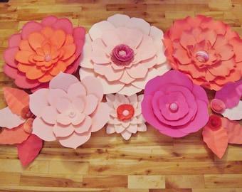 Set of 10 Flowers - Paper Flowers | Paper Flowers for Nursery | Paper Flower Backdrop | Paper Flower | Paper Flower Wall | Paper Flower Art