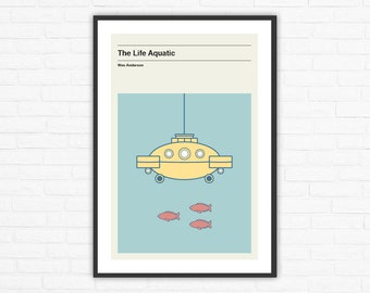 Wes Anderson, The Life Aquatic Submarine Jacqueline Minimalist Movie Poster