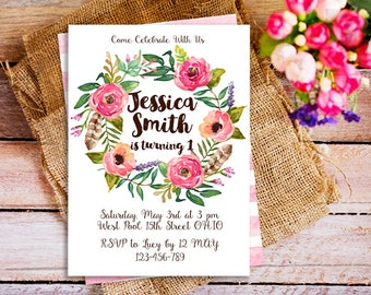 floral first birthday invite, floral wreath invitation, garden first birthday invitation, floral birthday invitation, girl birthday invite