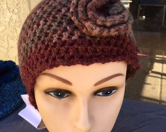 Hand crocheted hat for women or teen girls