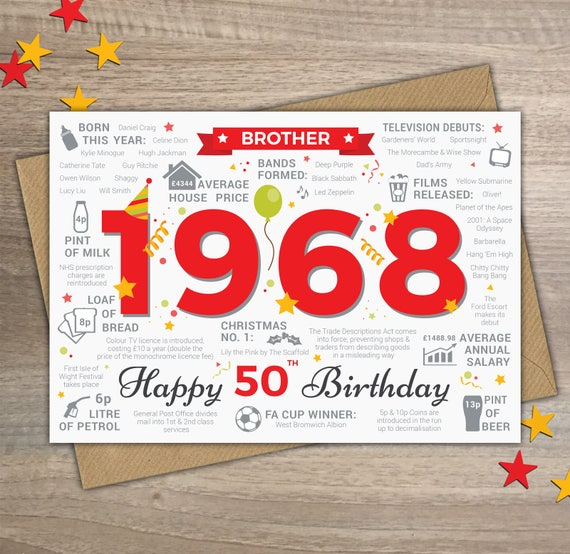 Happy 50th birthday brother greetings card born in 1968 year like this item bookmarktalkfo Gallery