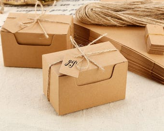 Kraft Card Carry Boxes Wedding Favour Boxes with String & Gift Tags Sweets Boxes, Candy boxes, favours, Wedding Boxes