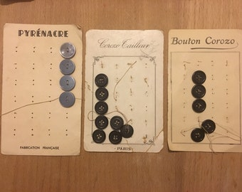 Set of three cards of French vintage buttons c.1950