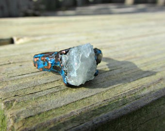 Raw aquamarine ring, Raw crystal ring, March birthstone ring, Electroformed jewelry, Oxidized copper, raw gemstone jewelry, graduation gift