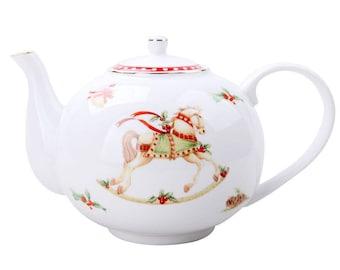 Gracie Teaware China Rocking Horse CHRISTMAS TEA SET Teapot with 4 Teacups & Saucers