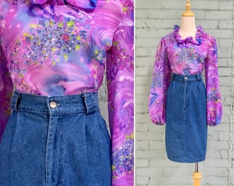1980s pleated denim skirt / 80s high waisted jean skirt / 1980s jean mini skirt / 80s denim pencil skirt
