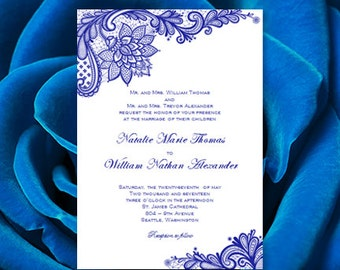 Royal blue invite etsy vintage lace wedding invitations royal blue printable templates wordc instant download order any color filmwisefo Gallery