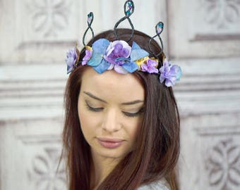 Blue and Lavender Flower Crown, Black Jewelled Elven Headpiece, Fantasy Headpiece, Fairy Crown, Fantasy, Bridal Headpiece, Fae