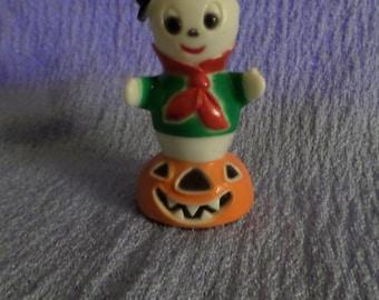 Vintage Fun World Halloween Ghost riding on a pumpkin Jack o lantern Wheels Hong Kong VGC