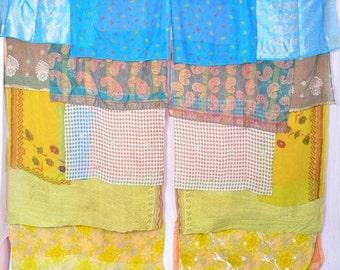 Boho Gypsy Sari Curtains Boho Decor Upcylced Bohemian Gypsy Curtains saree sarees multi color C221