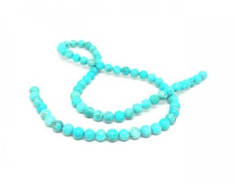63 round Turquoise beads 6mm natural