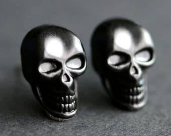 Black Skull Earrings. Black Earrings. Scary Skull Halloween Earrings. Post Earrings. Stud Earrings. Halloween Jewelry.