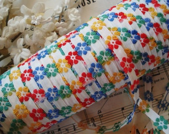 """1y Vintage Colorful 3/8"""" Daisy Flowers Floral Schiffli Venise Petite Applique Lace Tape Embroidered Trim French Bebe Doll Ribbon Sewing"""