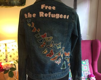 Custom bedazzled denim jacket with your choice of message
