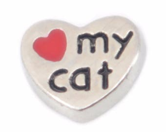 Love My Cat Floating Charm for Glass Memory Locket FC23 - 1 Charm
