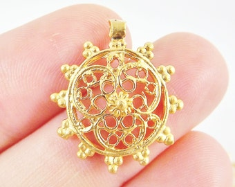 4 Intricate Medallion Charms - 22k Matte Gold Plated