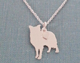 Border Collie Dog Necklace, Sterling Silver Personalize Pendant, Herding Breed Silhouette Charm Rescue Shelter, Memorial Gift