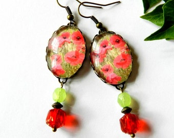 Earrings glass cabochon, poppies, red and green pattern